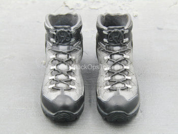 BOOT - Black & Grey Combat Boots (Peg Type)