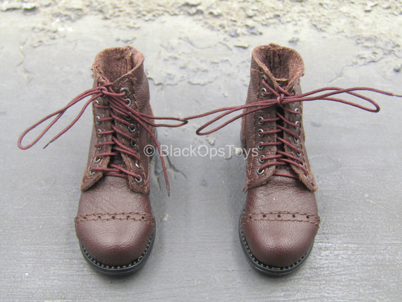 WWII - US Captain Miller - Leather-Like Boots w/Gaiters (Foot Type)