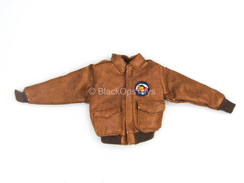 WWII - US 101st Airborne - Brown Leather Like Flight Jacket (Damaged)