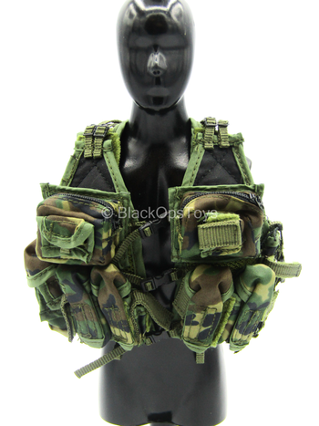 US Air Force STS - Woodland Combat Vest w/Black Buttpack