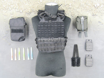 British - Urban Tactical MPS - Black Plate Carrier Vest Set