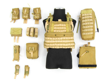 U.S. Army Green Beret ODA721 - Coyote Tan MOLLE Vest w/Pouch Set