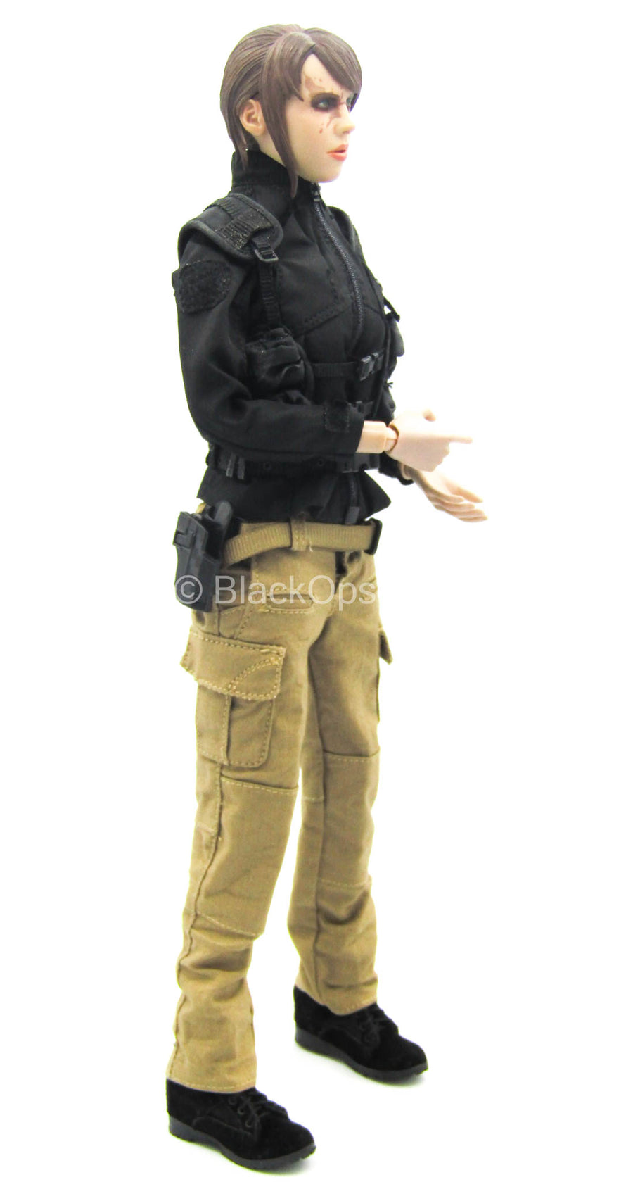 Black Jacket & Tactical Vest w/Tan Pants & Black Boots