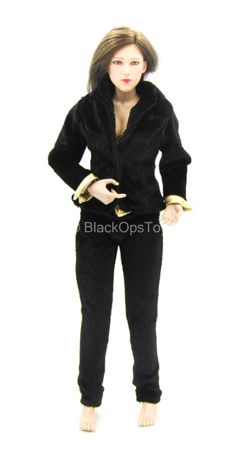007 - Miss Galore - Black & Gold Like Velour Uniform Set