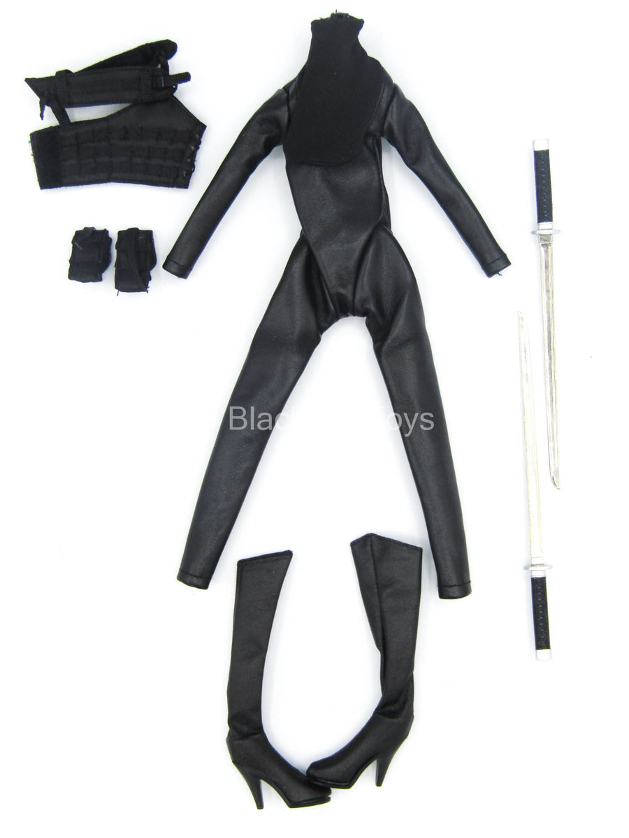 Black Leather-Like Full Body Suit w/Thigh High Boots & Metal Swords