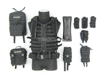 Russian - FSB Alpha Group - Black Tactical MOLLE Vest w/Pouch Set