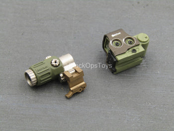 DOT - OD Green & Brown Red Dot Sight w/Magnifier
