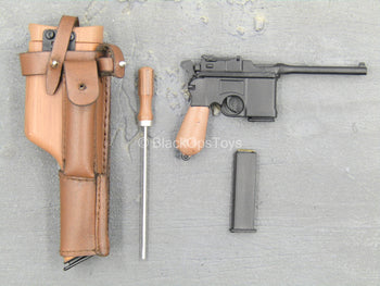 WWII - SS Panzer Division - Mauser C96 w/Leather Like Sheath