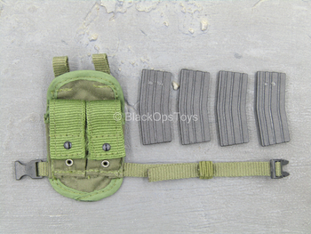 ACE - Green Drop Leg Magazine Pouch w/5.56 Ammo Magazine (x4)
