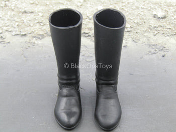 WWII - Black Knee High Combat Boots (Foot Type)