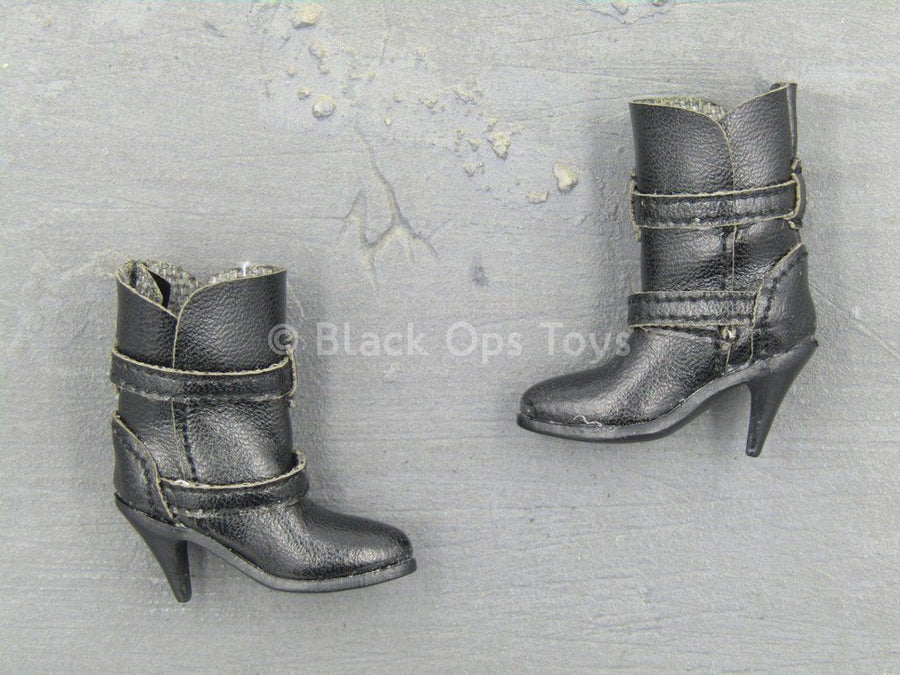Magnetic Girl - Black Biker High Heeled Boots (Peg Type)