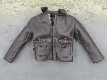 Indiana Jones - Classic - Brown Leather Like Bomber Jacket