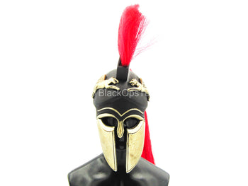 Greek Hoplite 2.0 - Metal Black, Gold & Red Corinthian Helmet