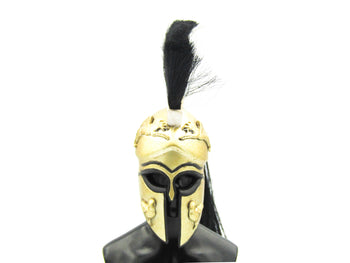 Greek Hoplite 2.0 - Metal Gold,Black & White Corinthian Helmet