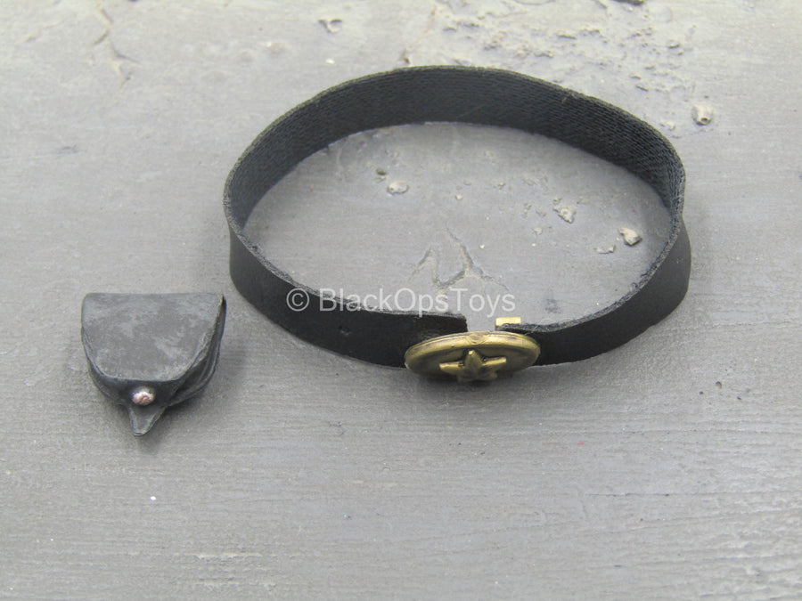 1st Texas Infantry - Black Leather-Like Belt w/Pouch