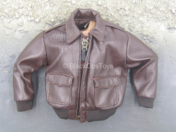 A-2 Flight Jacket - Brown Leather-Like Flight Jacket