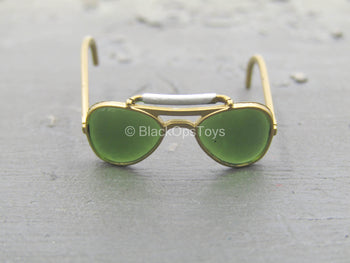 A-2 Flight Jacket - Gold-Colored Aviator Glasses w/Green Lens