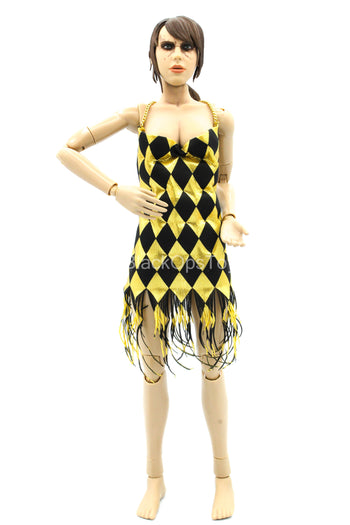 Harley Quinn - Dancer - Black & Gold Colored Dress w/Chain Detail