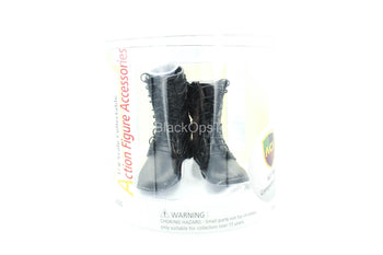 Black Leather Like Combat Boots - MINT IN BOX
