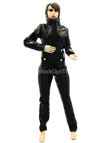 Black Leather-Like Female Body Suit
