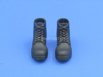 1/12 - Custom - Black Hiking Boots (Peg Type)