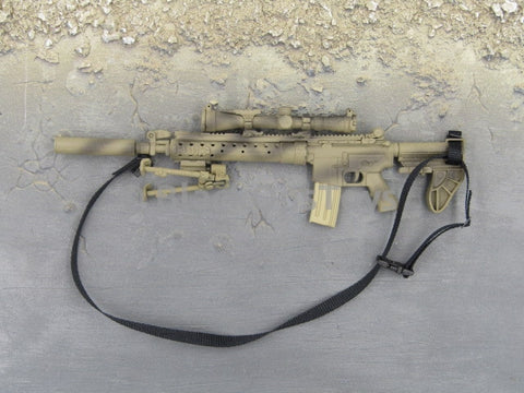 One Sixth Scale Model Desert Camo M4 with Crane Stock, Suppressor, Bipod and Scope