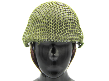 WWII - US 2nd Ranger Battalion - Green METAL Helmet w/Netting