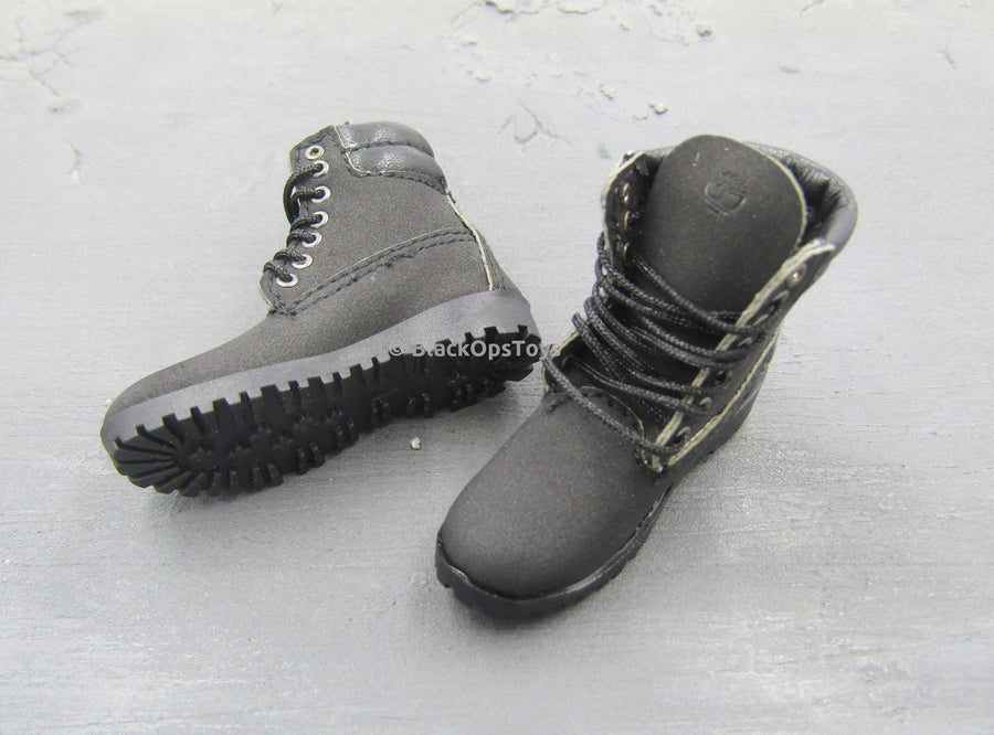Foot Type 1//6 Scale Toy Muscle Body Pair of Black MOTO Boots