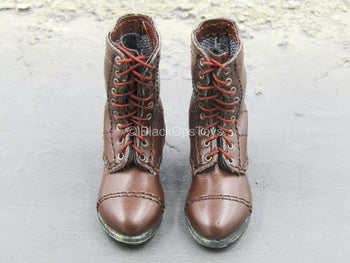 Brown Leather Like Boots (Foot Type)