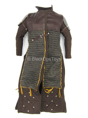 The Devil Hunter - Brown Leather-Like & METAL Chainmail Armor Coat