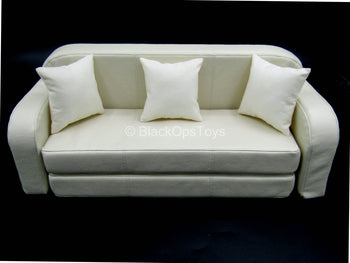 Pulp Fiction - Vincent - White Leather-Like Couch