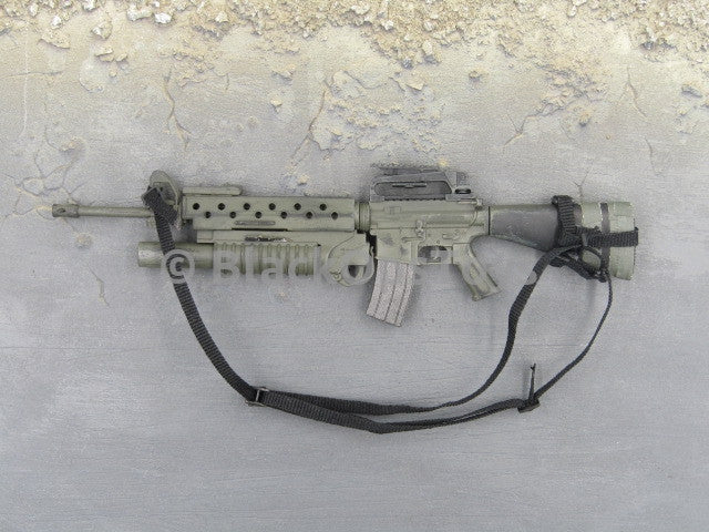 One Sixth Scale Model Green M16a4 Rifle Grenade Launcher And Sling