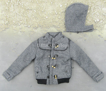 Cold Weather Wear - Grey Fleece Like Jacket w/Removable Hood