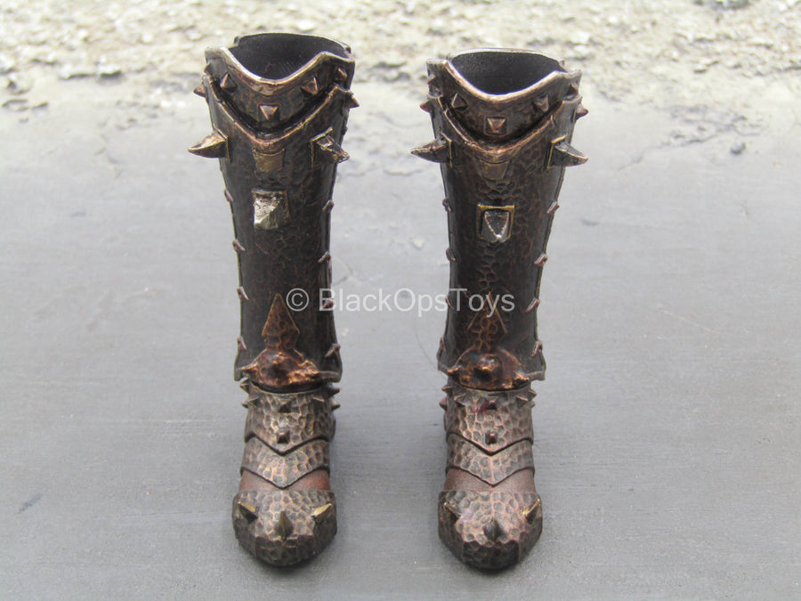 Viking Woman - Female Brown Armored Boots (Peg Type)