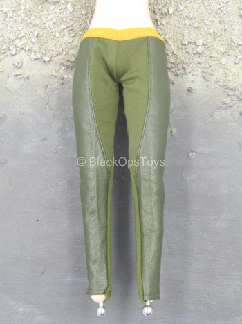 Green & Yellow Leather-Like Pants