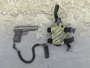 I.S.O.F. - 9MM Pistol w/Tiger Stripe Drop Leg Holster