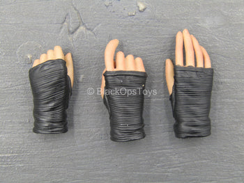 Sucker Punch - Amber - Black Fingerless Gloved Hand Set