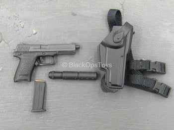 "Delta Forces ""Leo"" - HK 0.45 Pistol w/Suppressor & Holster"
