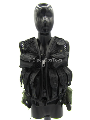"Delta Forces ""Leo"" - Black Tactical Vest w/Belt Set"