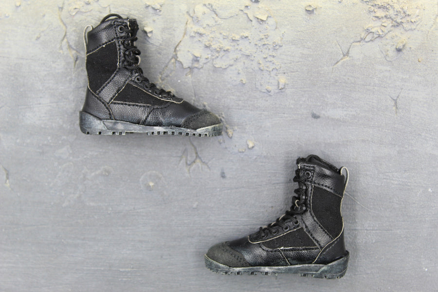BOOT - Black Leather-Like Boots (Foot Type)