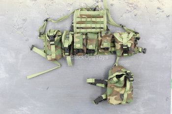 US Army Ranger - Woodland Camo Chest Rig & Pouch Set