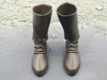 Persian Empire - Bowman - Brown Boots w/METAL Shin Guards (Peg Type)