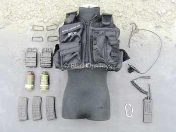 US Secret Service - Black Tactical Vest w/Radio & Gear Set