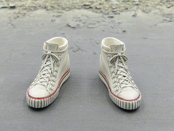 Alien Ellen Stained White Mid-Top Sneakers Peg Type