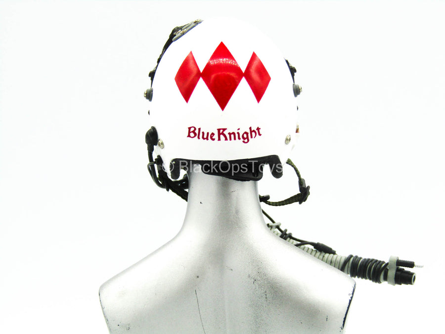 "White ""Blue Knight"" Flight Helmet"
