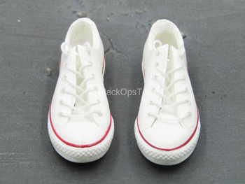 Female White & Red Converse Shoes (Foot Type)