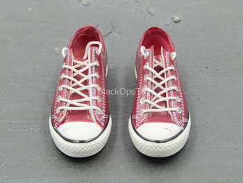 Female Red & White Converse Shoes (Foot Type)
