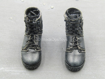 BOOT - Black Female Leather-Like Boots (Peg Type)