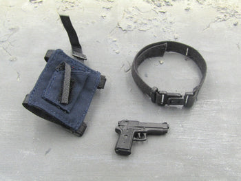 Police Helicopter Pilot - Pistol w/Blue Drop Leg Holster