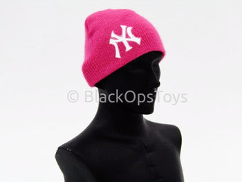 Knit Pink Female Beanie Watch Cap With Yankees Logo (B)